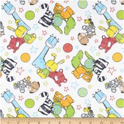 Flannel Tossed Toys & Stars White Fabric