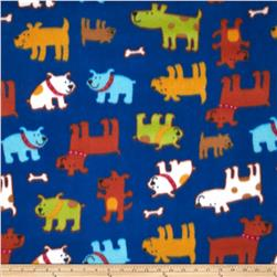 Printed Fleece Happy Puppy Royal Blue