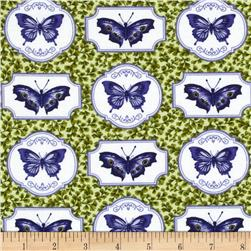 Botanical Blues Butterflies Green