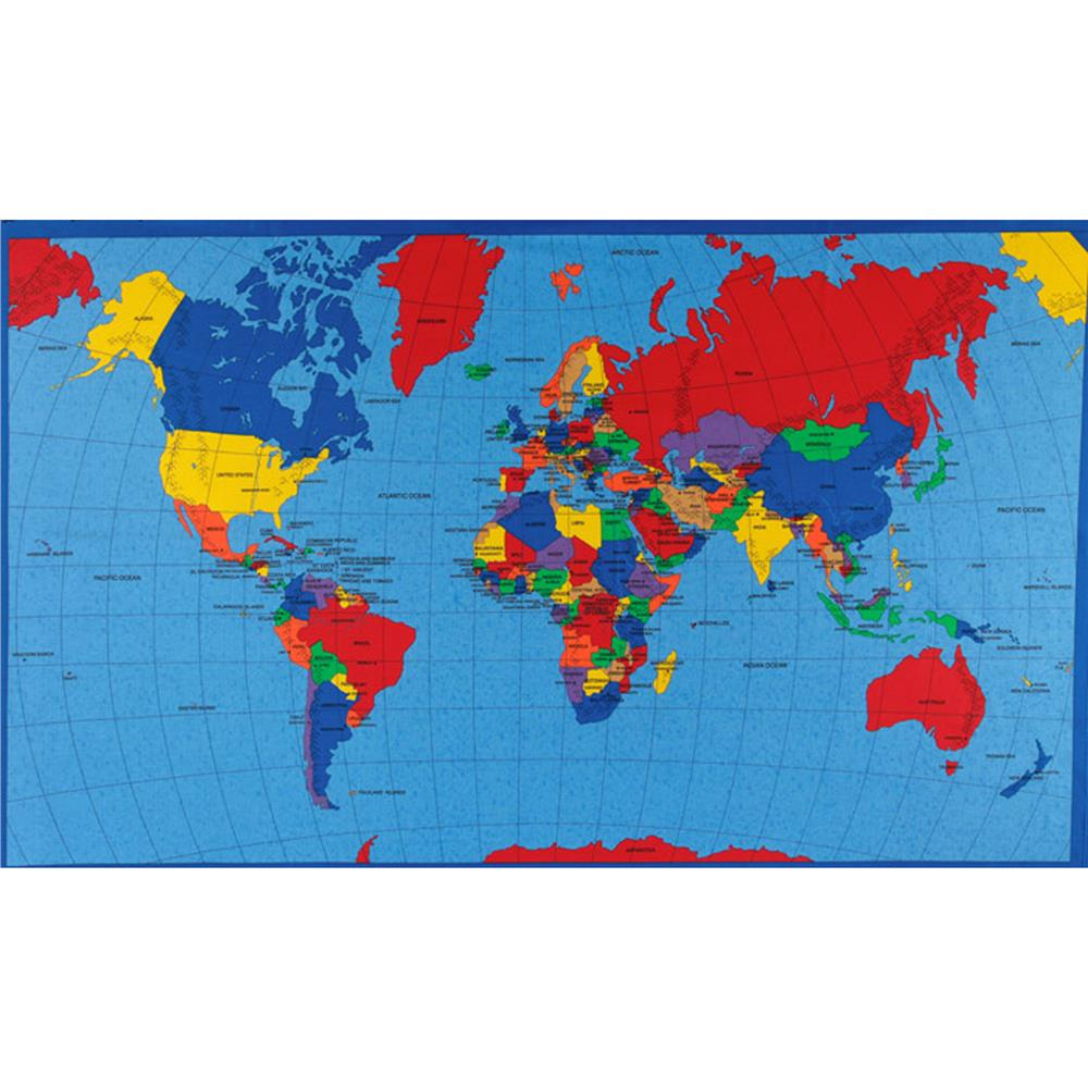World Map Print Fabric.Multi Panel Map World Multi Discount Designer Fabric Fabric Com