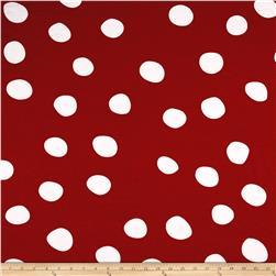 Rihan Jersey Knit Large White Polka Dots on Red