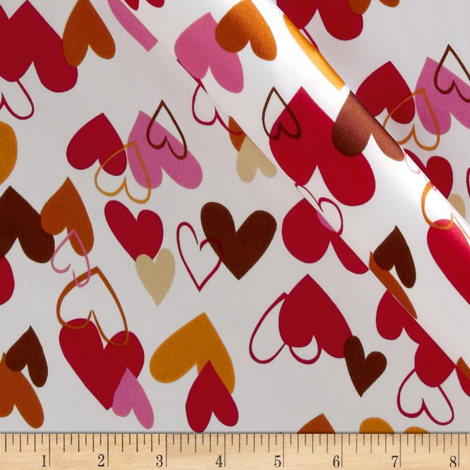 Robert Kaufman Silky Satin Heart 2 Heart Red/Gold