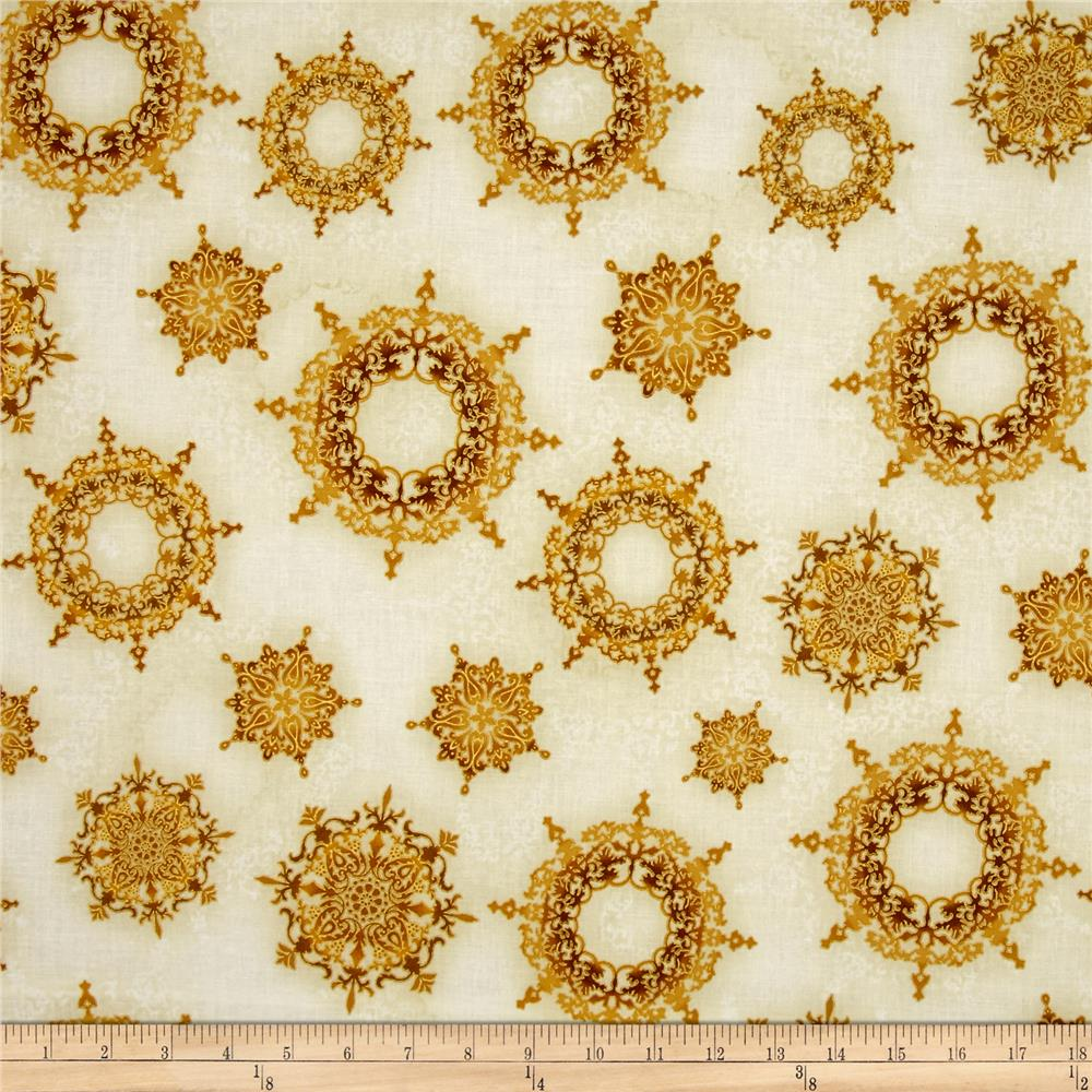 Kaufman Winter's Grandeur 4 Metallics Snowflake Ornaments Gold