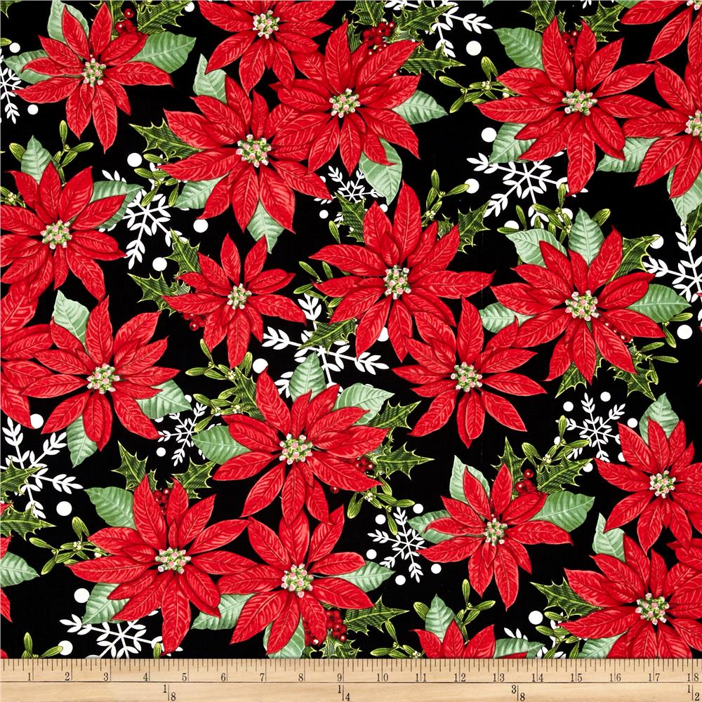 Winter Lodge Poinsettia Black