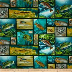 Lakeside Reflections Fish All-Over Patch Gre1