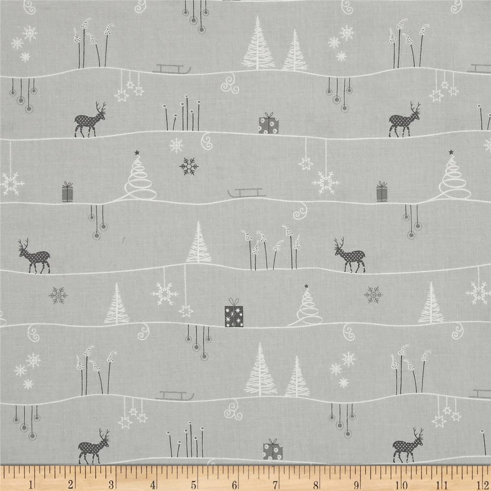 Silent Christmas Scenic Repeating Stripe Grey