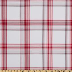 Yarn Dyed Polyester Suiting Plaid White/Red
