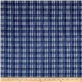 Kaufman Cotton Boucle Prints Plaid Indigo