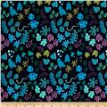 Cotton + Steel Lagoon Leafy Wonder Neon Navy