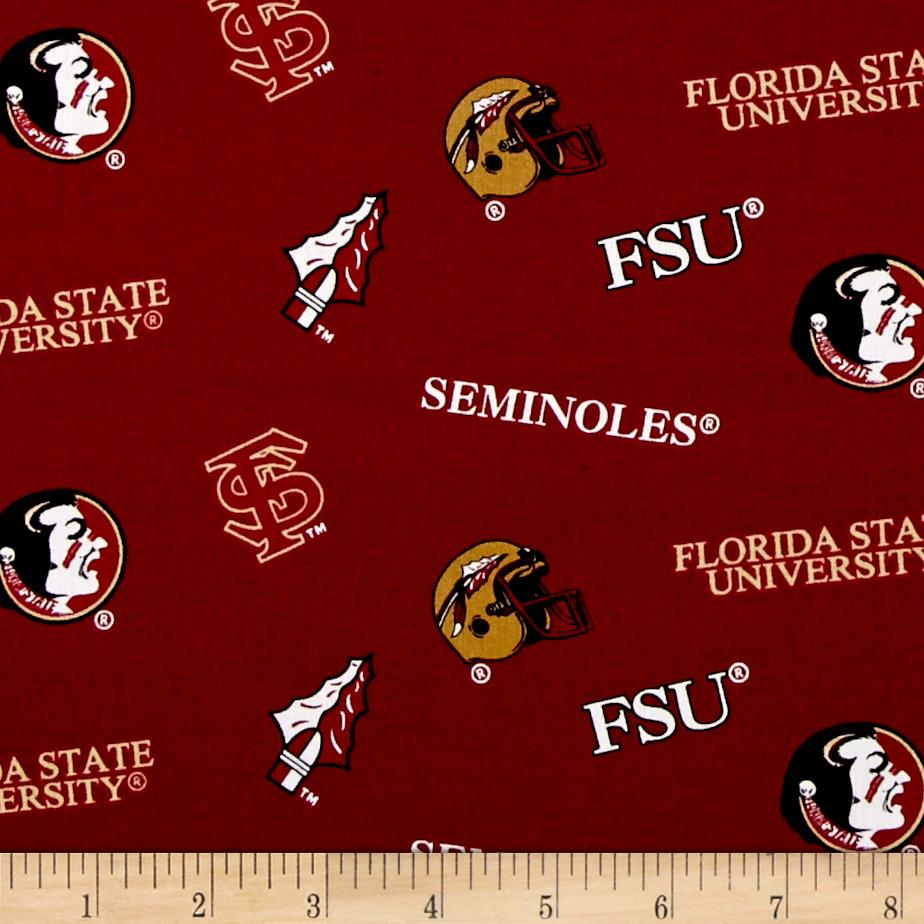 Collegiate Cotton Broadcloth Florida State Red/Gold/Black
