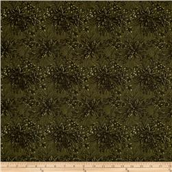 "Moda Forever Green 108"" Wide Back Poinsettia & Pine Pine"