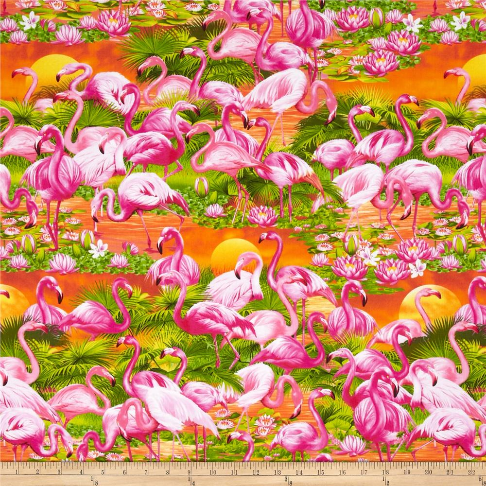 Timeless Treasures Tropical Flamingos Sunset