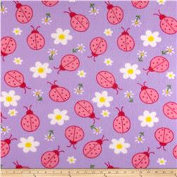 Fleece Print Bugs & Flowers Lilac/Pink/White