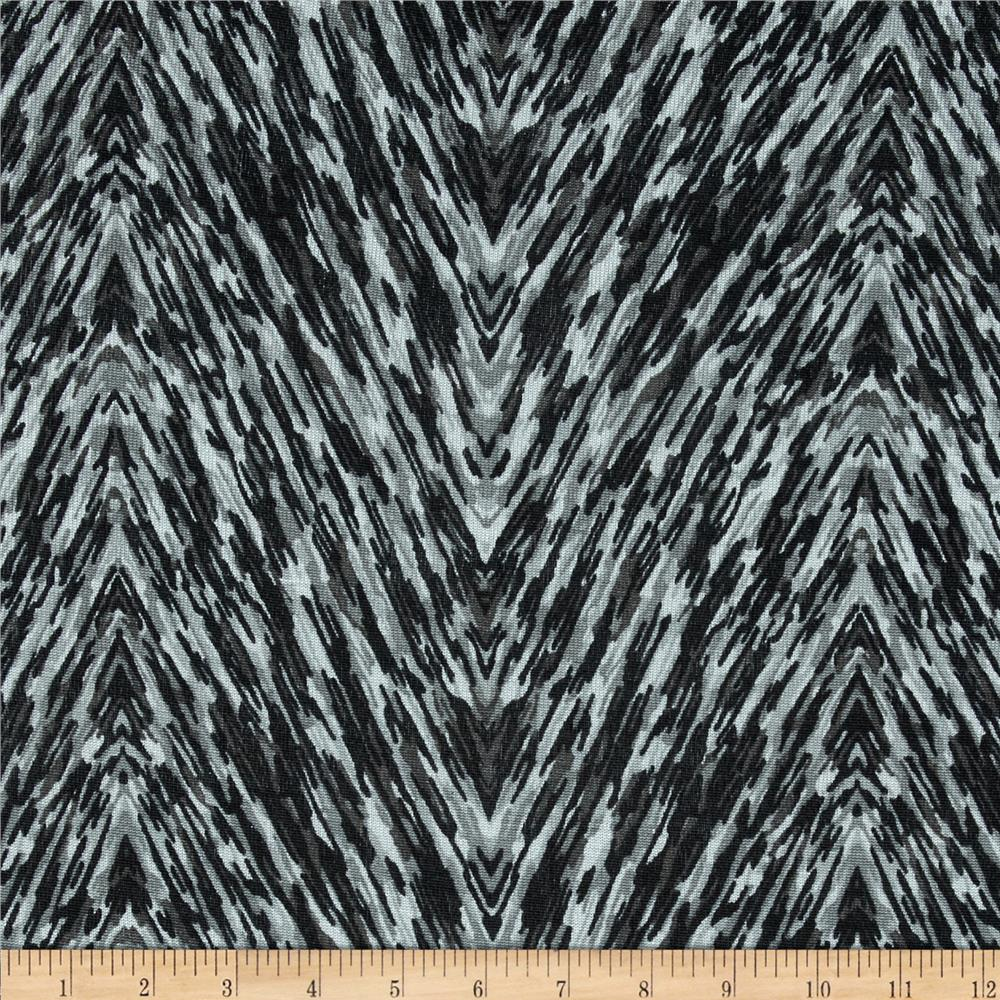 Silky Hatchi Knit Abstract Chevron Black/Grey