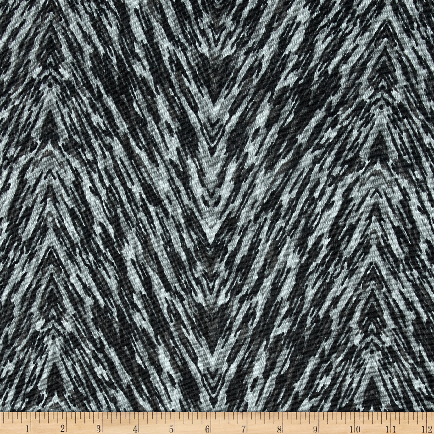 Silky Hatchi Knit Abstract Chevron Black/Grey Fabric