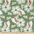Riley Blake Valencia Laminated Cotton Large Floral Green