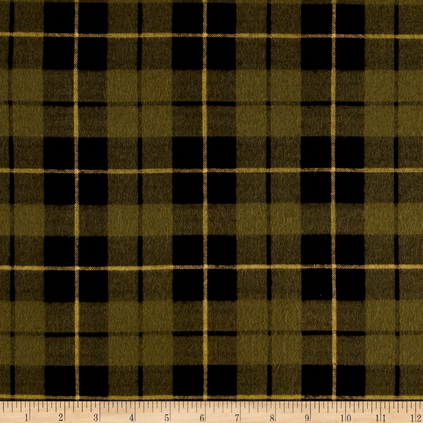 Wilderness Flannel Plaid Olive Fabric by Clothworks in USA