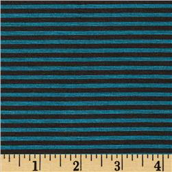 Stretch Blend Jersey Knit Stripe Teal/Black
