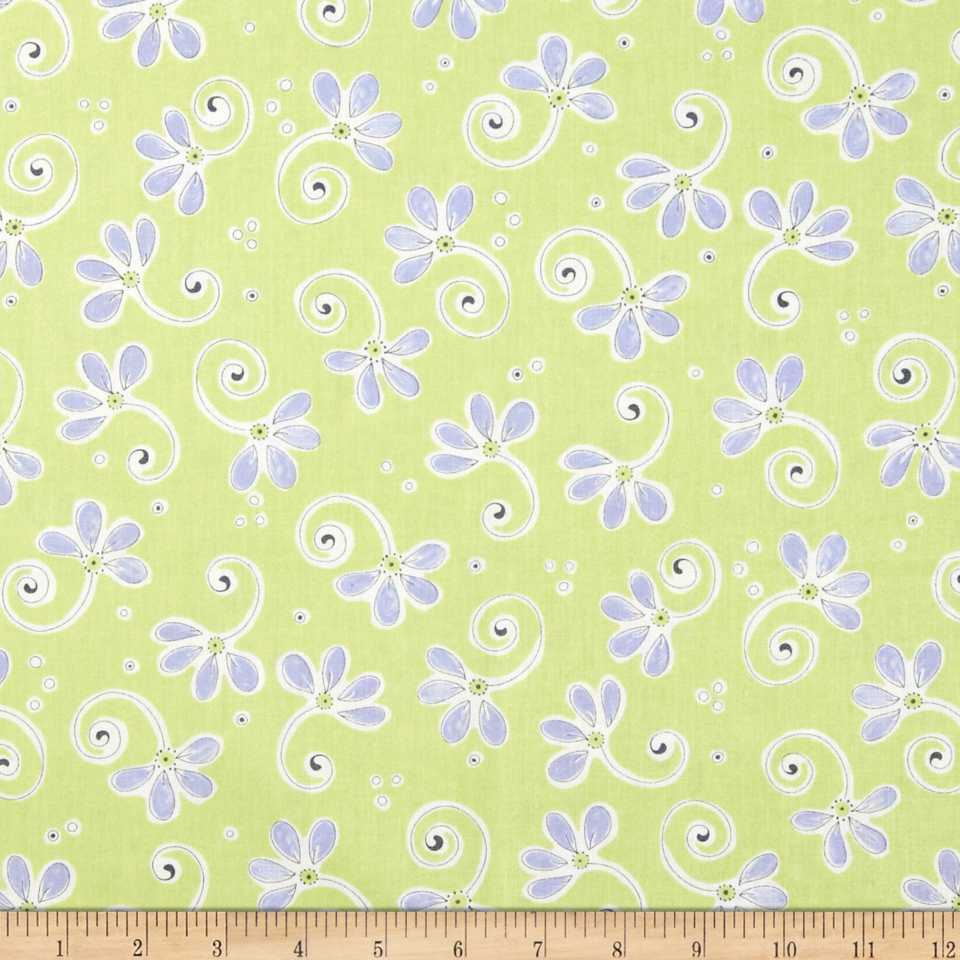 Bird's House Flowers & Stems Green/Periwinkle Fabric
