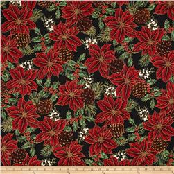 Warm Wishes Metallic Poinsettia Holly, Pinecones Black/Gold