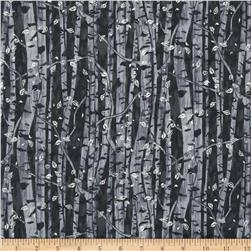 Branching Out Metallic Tree Trunks Gray/Silver Fabric