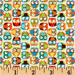 Timeless Treasures Mini's Tossed Owls Beige