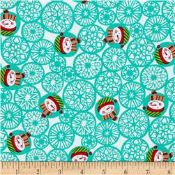 Michael Miller Holiday Santa's Farm Man Flakes Aqua