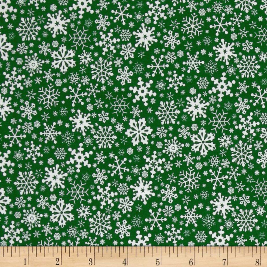 Season's Greeting's Snowflakes Allover Green