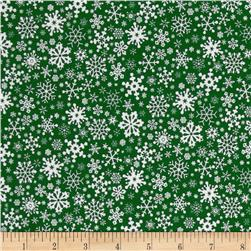 Season's Greetings Snowflakes Allover Green