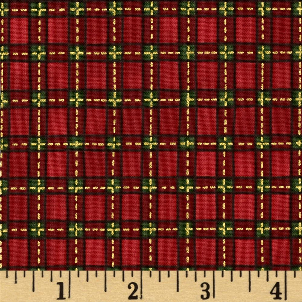 Christmas Tidings Metallic Plaid Red