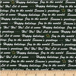Winter Wishes Winter Words Green Fabric