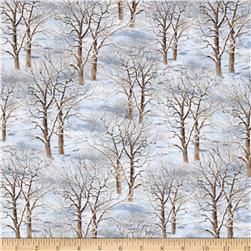 Sleigh Ride Trees Allover Blue