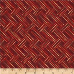Moda Turning Leaves Rustic Herringbone Cranberry