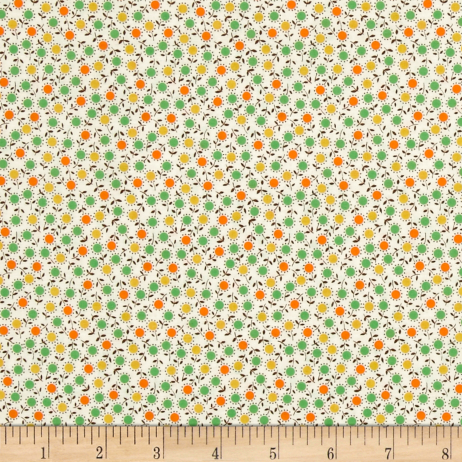 Aunt Grace Small Flower Yellow Fabric by Marcus in USA