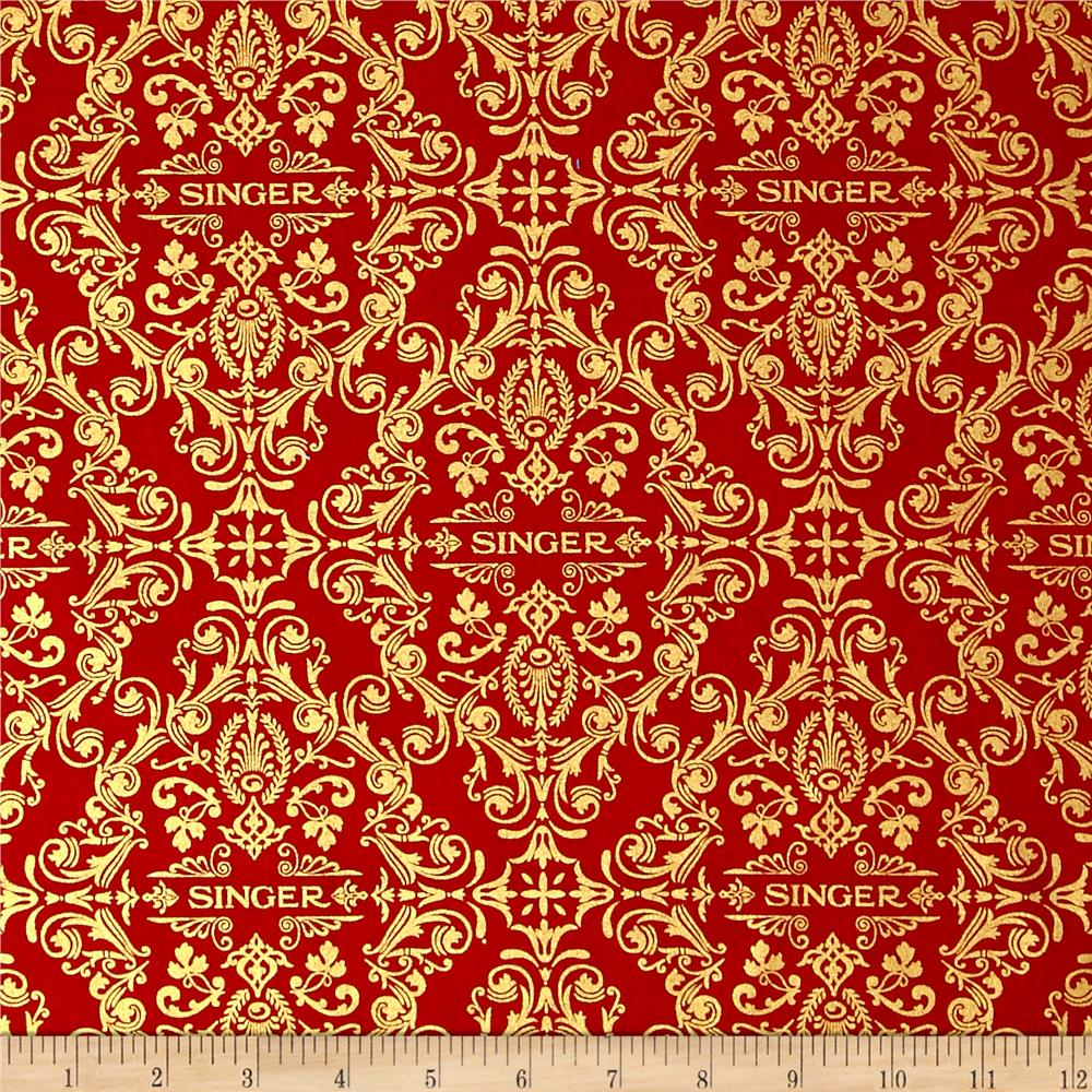 Kaufman sewing with singer metallic medallion red for Cheap sewing fabric