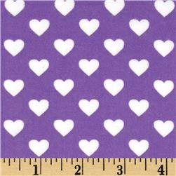 Michael Miller Flannels It's A Girl Thing Hearts All Over Purple