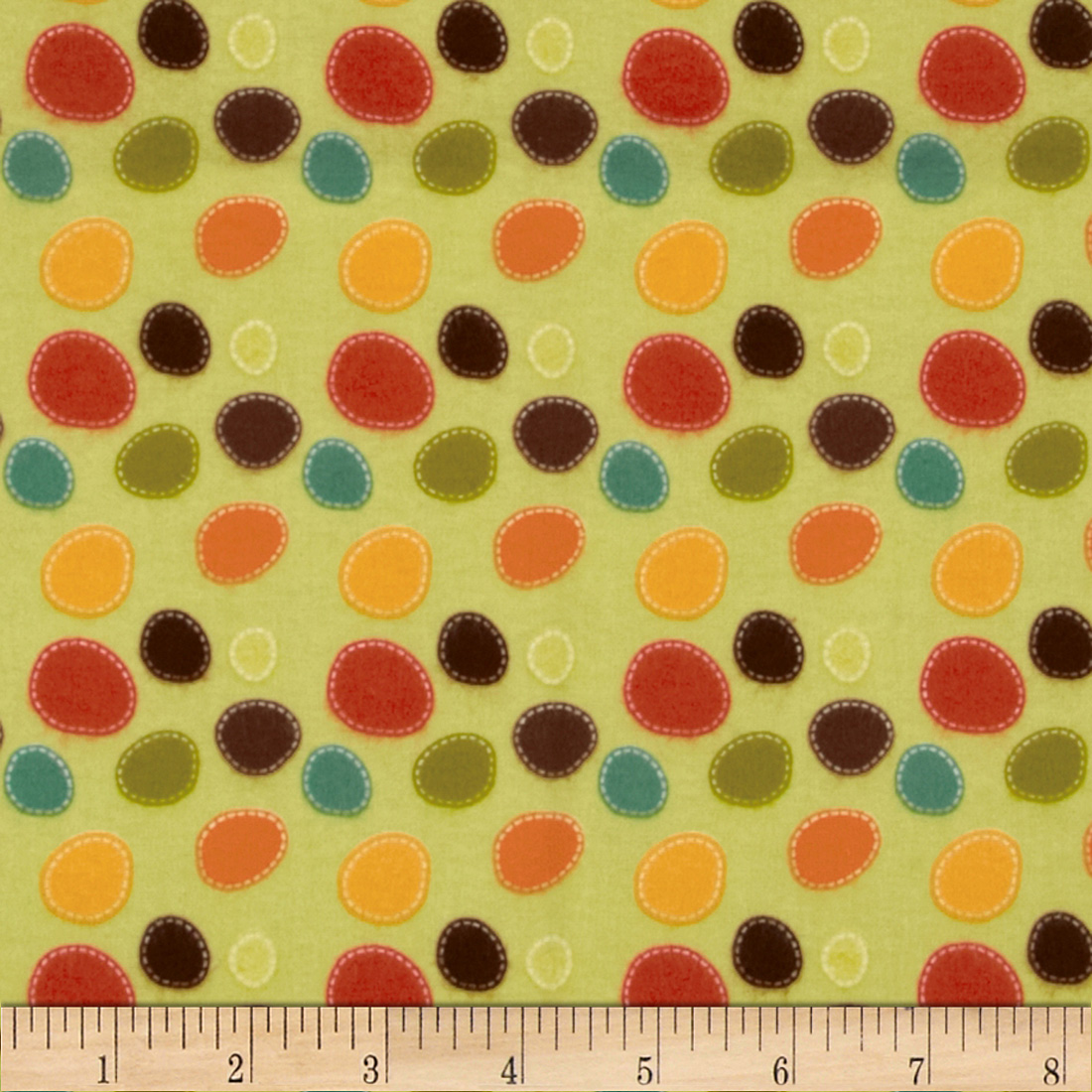 Riley Blake Giraffe Crossing Flannel Giraffe Dots Green