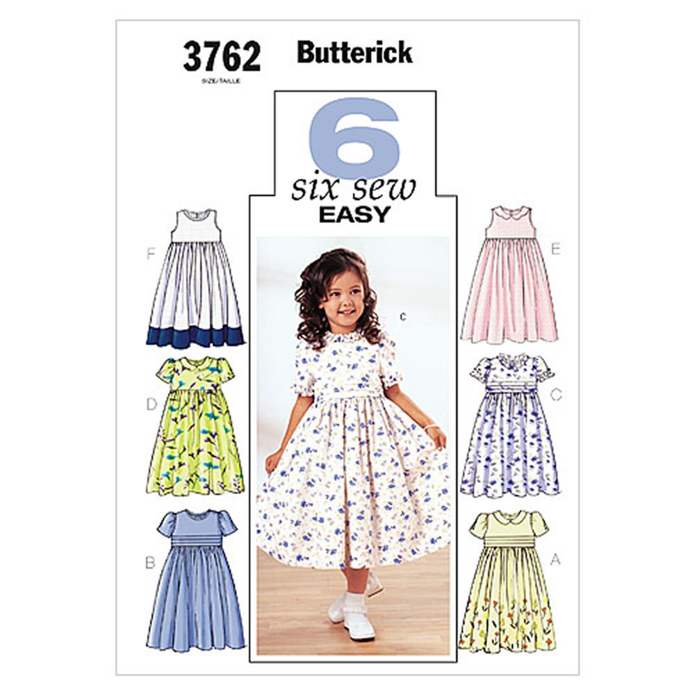 Butterick childrens 39 girls 39 dress pattern b3762 size 020 for Childrens dress fabric