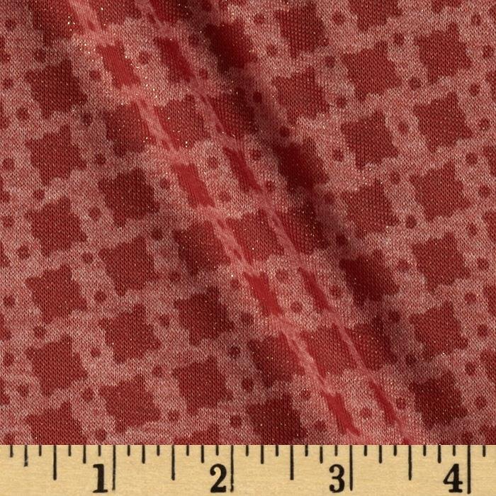 Spun Polyester Tissue Jersey Knit Sparkle Shapes Rust/Gold