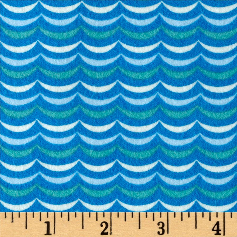 Moda Apple Jack Scallop Stripe Flannel Blue Fabric By The Yard