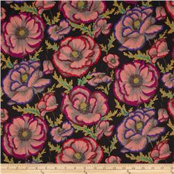 Kaffe Fassett Collective Banded Poppy Black Fabric