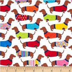 Timeless Treasures Sweater Dachshunds White