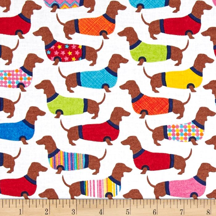 Timeless Treasures Sweater Dachshunds White Fabric