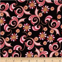 Sweet Flowers Metallic Mini Abstract Floral Rose Fabric