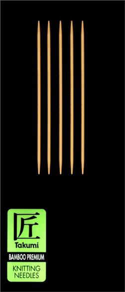Clover Takumi Bamboo Premium Knitting Needles Double Pt. 5'' US 1 (2.25mm)