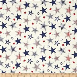 Let's Celebrate Large Stars White Fabric