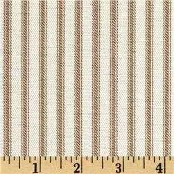 Vertical Ticking Stripe Ivory/Brown Fabric