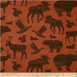 Timber Lodge Flannel Forest Animals Earth Rust
