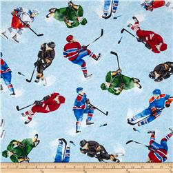Timeless Treasures Tossed Hockey Players Blue Fabric