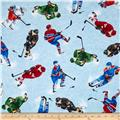 Timeless Treasures Tossed Hockey Players Blue